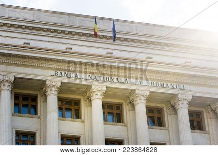 BUCHAREST, ROMANIA - August 28, 2017: National Bank of Romania in Old Town Bucharest, Romanian