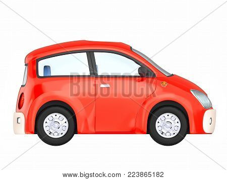 Small cute red car side view isolated on white. 3d illustration