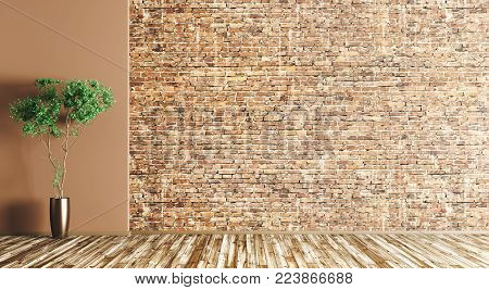Empty interior background, room with brick wall and vase with plant on the wooden floor 3d rendering