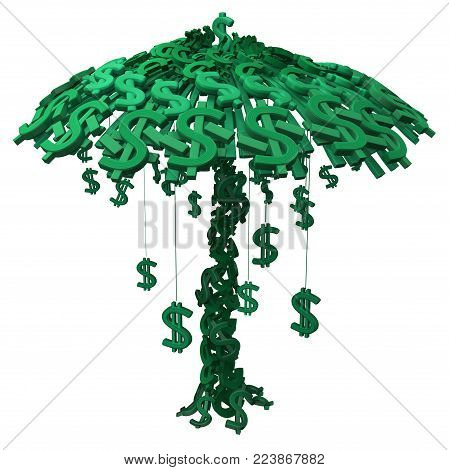 Dollar money symbol tree growth cartoon, 3d illustration, vertical, isolated, over white