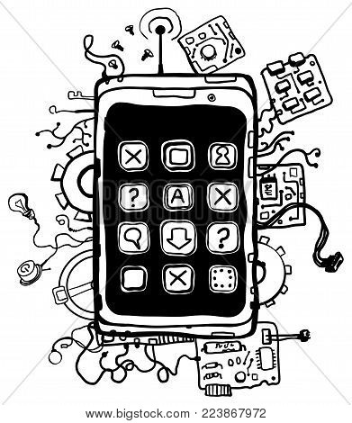 Phone technology engineering abstract cartoon line drawing, vertical, vector illustration, isolated