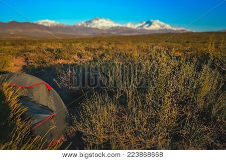 Tent pitched on a pampa on the plains in Argentina, South America