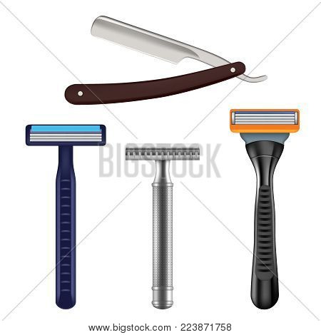 Shaving razor mockup set. Vector realistic illustration of straight razor with brown handle and color wet shave razors for men.