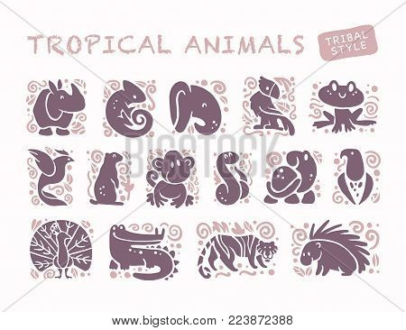 Vector collection of flat cute animal icons isolated on white background. Tropical animals and birds tribal symbols. Hand drawn emblems. Perfect for logo design, infographic, prints etc.