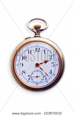 19th Century pocket watch, showing signs of age, isolated on white. Concepts of nostalgia, sense of time, ageing, time passing,