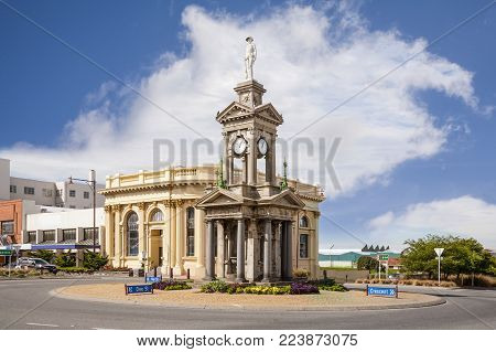 Bank Corner, Invercargill, Southland, New Zealand, the war memorial and old stone buildings in the centre of town.