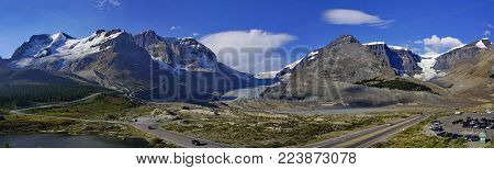 Panoramic view of Columbia Icefield in Jasper National Park, Rocky Mountains, Alberta, Canada.