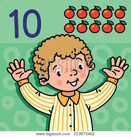 Card 10. Boy in shirt on green-blue background. Kid's hands showing the number ten hand sign. Childrens vector illustration for counting education cards from 1 to 10.