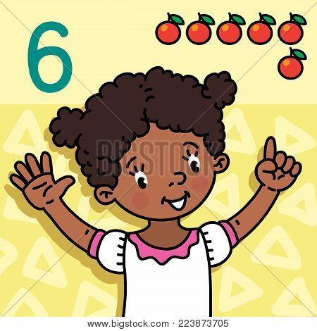 Card 6. African girl in white dress on light-yellow background. Kid's hands showing the number six hand sign. Childrens vector illustration for counting education cards from 1 to 10.