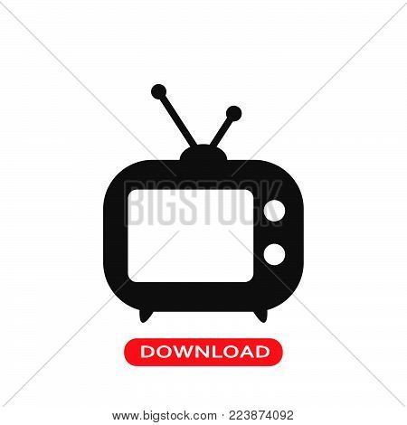 TV icon vector in modern flat style for web, graphic and mobile design. TV icon vector isolated on white background. TV icon vector illustration, editable stroke and EPS10. TV icon vector simple symbol for app, logo, UI.