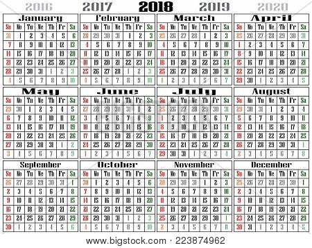 2018 gigantiq calendar Landscape Oriented red color for Sunday and green fon Saturday