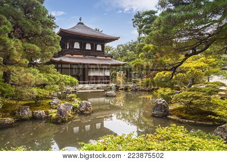 18 November 2011: Kyoto, Japan - The Silver Pavilion of the temple of Ginkaku-ji or Jisho-ji in Kyoto, seen in autumn. This Zen Buddhist temple is a notable historic place of Japan.