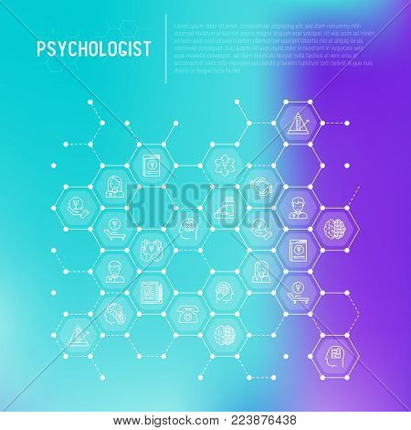 Psychologist concept in honeycombs with thin line icons: psychiatrist, disease history, armchair, pendulum, antidepressants, psychological support. Vector illustration for web page, print media.