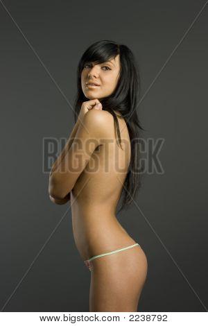 Smart Topless Brunette