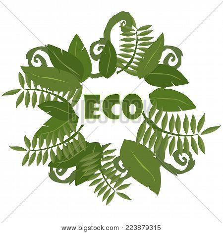 Round frame with Tropical leaves on a white background. Ecology logo - Vector illustration