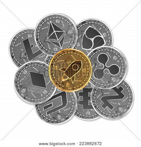 Set of gold and silver crypto currencies with golden stellar in front of other crypto currencies as leader isolated on white background. Vector illustration. Use for logos, print products