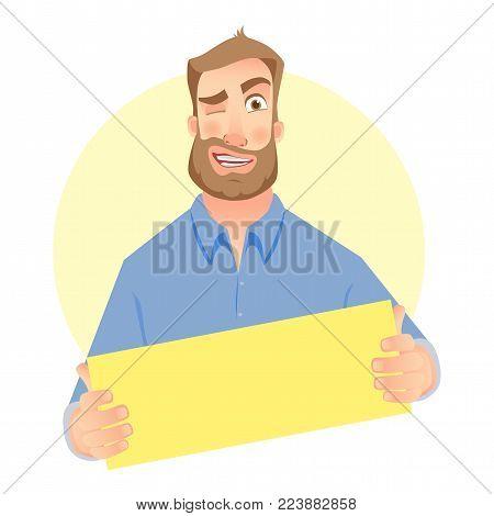 Man holding blank card. Businessman holding business card. Vector illustration