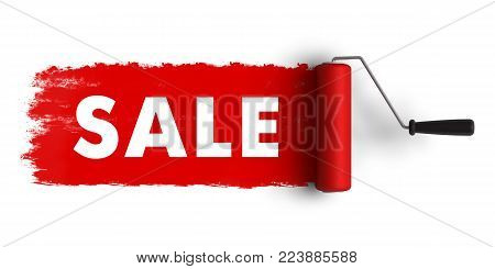 Creative abstract 3D render illustration of sale and discount banner with text word on red trail of paint roller brush isolated on white background