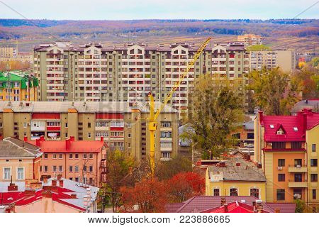 densely populated area consisting of multi-storey houses in Ivano-Frankivsk