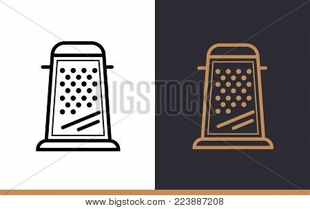 Linear icon GRATER of bakery, cooking. Vector pictogram suitable for websites, presentation and print media