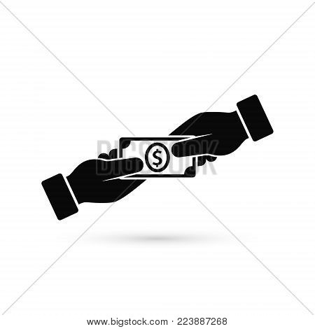 Hand Giving Money To Other Hand Vector Icon, simple isolated black illustration in flat style.