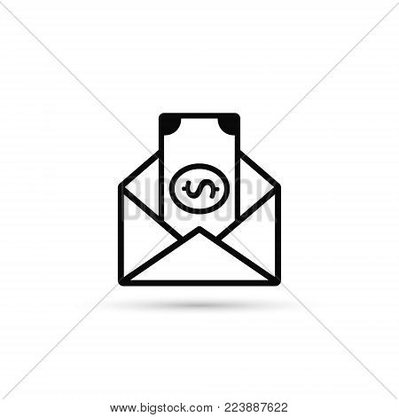 Envelope With Money Vector Line Icon. Flat Style Design.