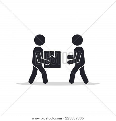 Delivery man giving box to other man icon. Vector isolated flat illustration.