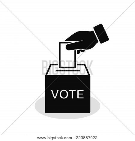 Voting concept icon in flat style. Hand putting voting paper in ballot box. Vector.