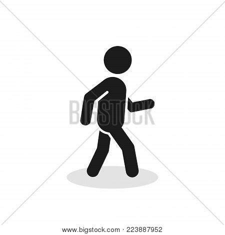 Pedestrian Icon. Walking Man Vector Sign Silhouette Isolated On White Background.