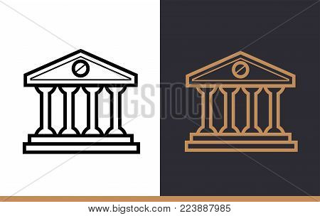 Vector linear icons BANK BUILDING of finance, banking. High quality modern icons suitable for print, website and presentation
