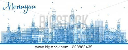 Outline Managua Nicaragua Skyline with Blue Buildings. Business Travel and Tourism Concept with Modern Architecture. Managua Cityscape with Landmarks.