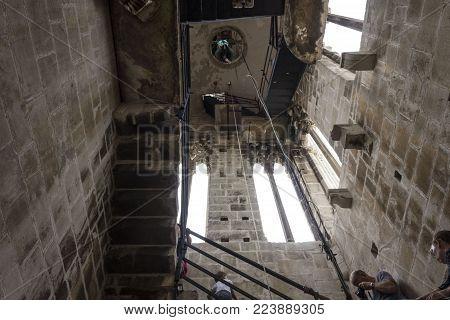Trogir, Croatia - August 12 2017: Inside Saint Lawrence Bell Tower In Trogir, Looking Up