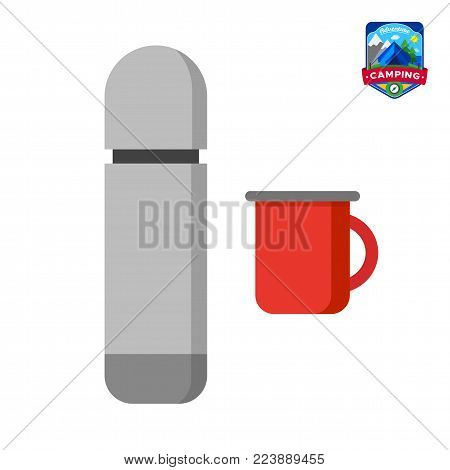 Camping summer thermos, enamel mug icon. Outdoor camp tourism. Isolated vector illustration in cartoon style