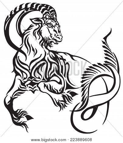 Capricorn Zodiac Sign . Tribal Tattoo Style Mythological Creature . Astrological Sea Goat Including
