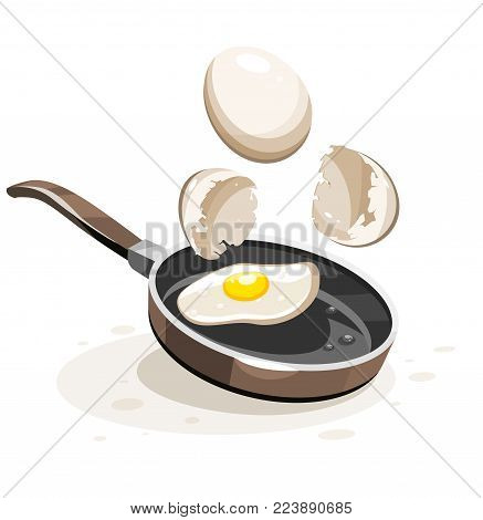 Eggs frying on the hot pan. Healthy english breakfast with egg yolk and broken shells, isolated white background. Eps10 vector illustration isolated on white background.