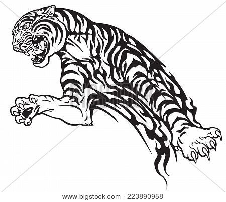 Tiger In The Jump. Aggressive Big Cat . Black And White Tribal Tattoo Style Vector Illustration