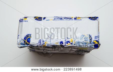 Paris, France - Jan 9 2017: Broken Parcel Covered With Safety Scotch Adhesive Band From Posta Moldov