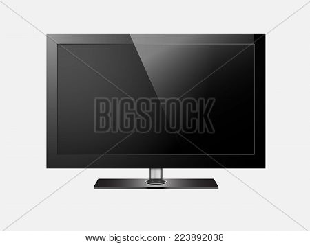 TV flat screen lcd, plasma realistic. Modern blank screen lcd, led, isolated on twhite background. Graphic design element, mock up,template. Computer monitor display vector mockup