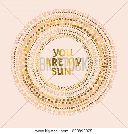 Tribal Indian style abstract circle geometry pattern. Elegant pale rose concept flower of sun vector illustration for card, invitation, header.