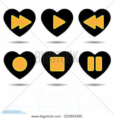 Heart vector black icon, Love symbol. Set of orange media player buttons in heart. Valentines day sign, emblem, Flat style for graphic and web design, logo. Media symbol