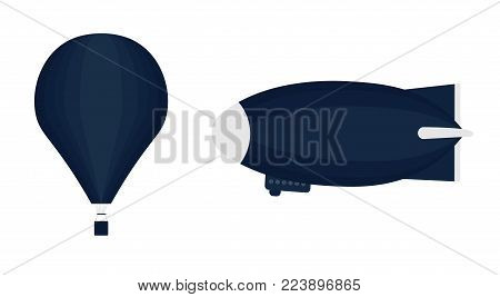 A set of transport for aeronautics. Set of aviation icons in flat style.  Includes an air balloon and an airship (Zeppelin). Template for banner and web. Isolated on white background.