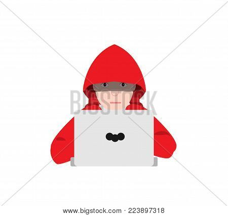 Hacker boy in red hoodie, wireless network, hacking. Hacker boy and passwords. Work at the computer, laptop. Work at home. Concept hacker. Programmer. Concept of freelancer. Flat vector illustration.