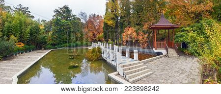 SOCHI, RUSSIA - NOVEMBER 12, 2017: The Arboretum - a Chinese court