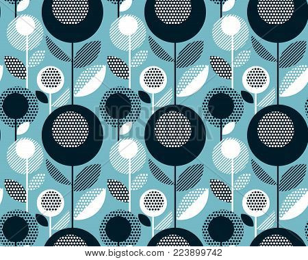 Geometric black and white vintage retro floral design. Concept abstract floral seamless pattern fora surface design. Repeatable motif with stylized flowers for fabric, wrapping paper, background.