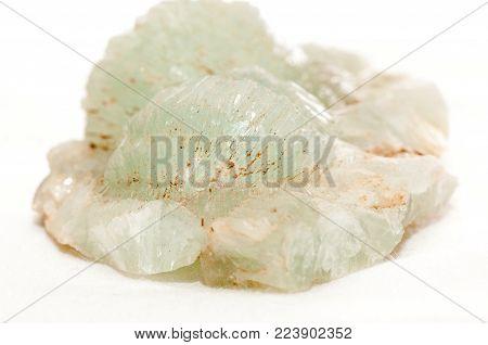 prehnite crystal light green mineral sample, rare earth mineral