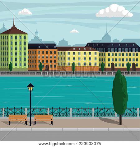 Vintage Europe city landscape illustration. City buildings along the river. Beautiful cartoon vector illustration