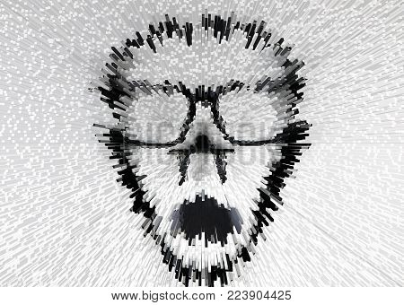 The Face image extrude background.The original face images from the lined broken glasses