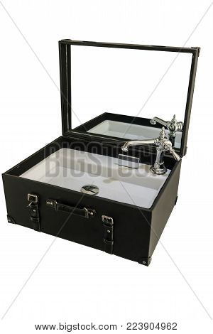 Ceramic basin and silver metal faucet set in black leather suitcase for decoration isolated on white background.