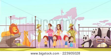 Family with kids at zoo between lions and pandas enclosures talking to animal curators cartoon vector illustration poster