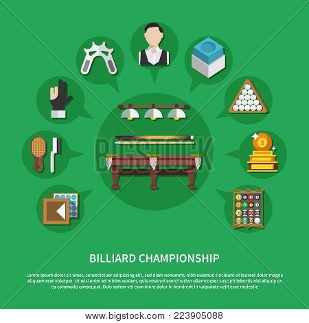 Billiard championship flat composition on green background with game equipment, players, trophy, cleaning accessories vector illustration